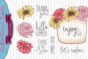 fancy florals coloured watermarked
